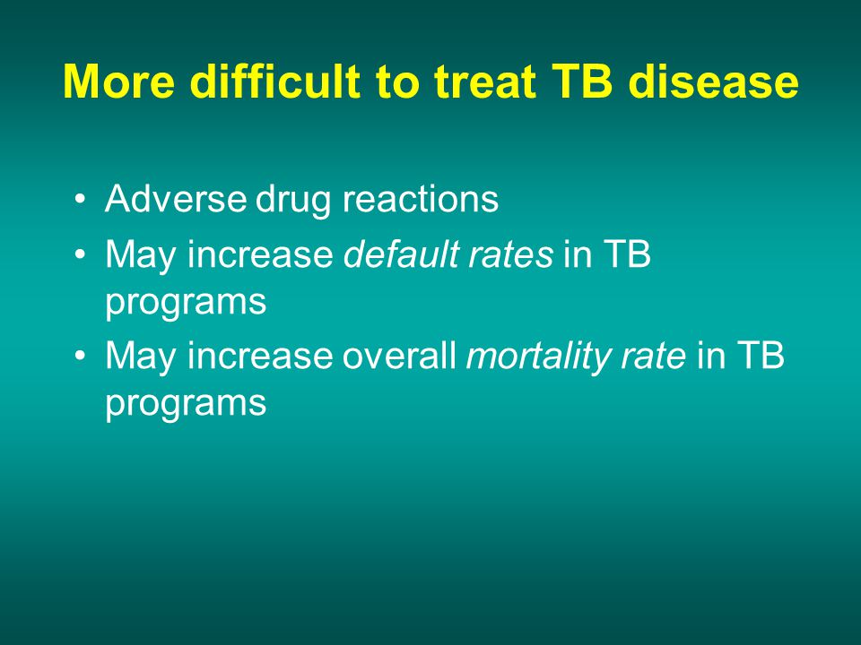 not too severe immunodepression CD4>200 Severe immunodepression CXR in case of patients TB/ HIV+