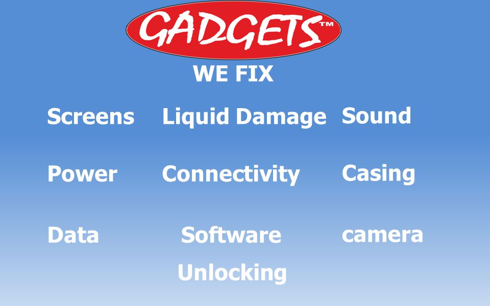WE FIX ScreensLiquid Damage Sound PowerConnectivity Casing DataSoftware camera Unlocking
