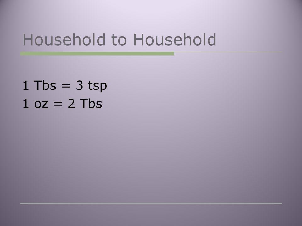 Household to Household 1 Tbs = 3 tsp 1 oz = 2 Tbs