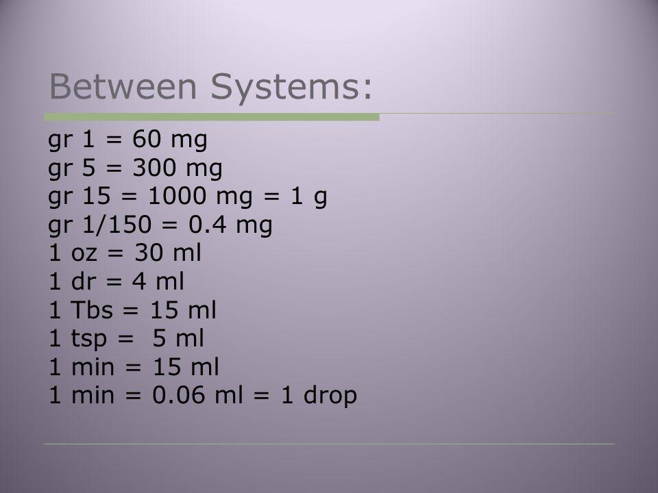 Between Systems: gr 1 = 60 mg gr 5 = 300 mg gr 15 = 1000 mg = 1 g gr 1/150 = 0.4 mg 1 oz = 30 ml 1 dr = 4 ml 1 Tbs = 15 ml 1 tsp = 5 ml 1 min = 15 ml 1 min = 0.06 ml = 1 drop