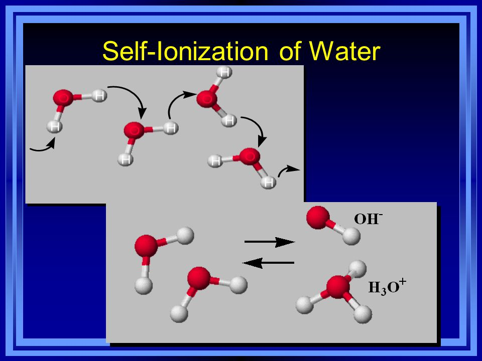 Self-Ionization of Water As you know, water molecules are very polar, they constantly move, & collide with each other. Sometimes, when they hit, H + '