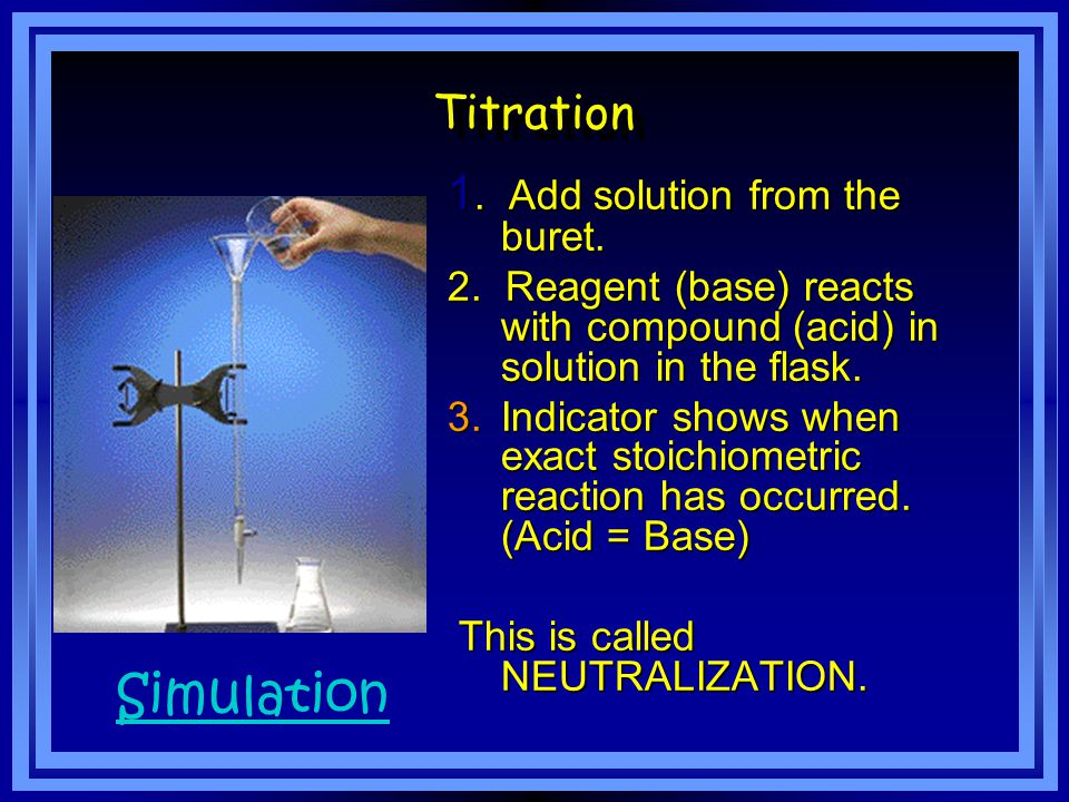 The solution of known concentration is called the standard solution added by using a buret Continue adding until the indicator changes color called the end point of the titration