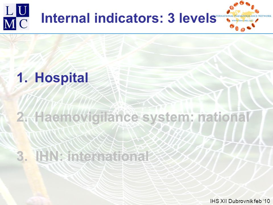 IHS XII Dubrovnik feb '10 Internal indicators: 3 levels 1.Hospital 2.Haemovigilance system: national 3.