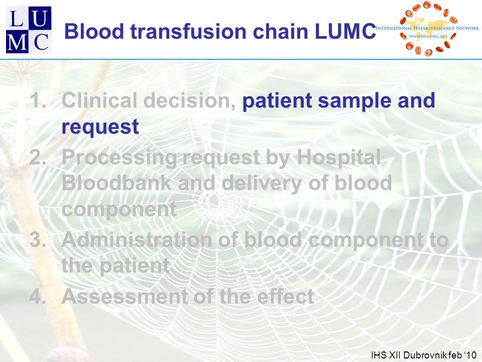 IHS XII Dubrovnik feb '10 Blood transfusion chain LUMC 1.Clinical decision, patient sample and request 2.Processing request by Hospital Bloodbank and delivery of blood component 3.Administration of blood component to the patient 4.Assessment of the effect