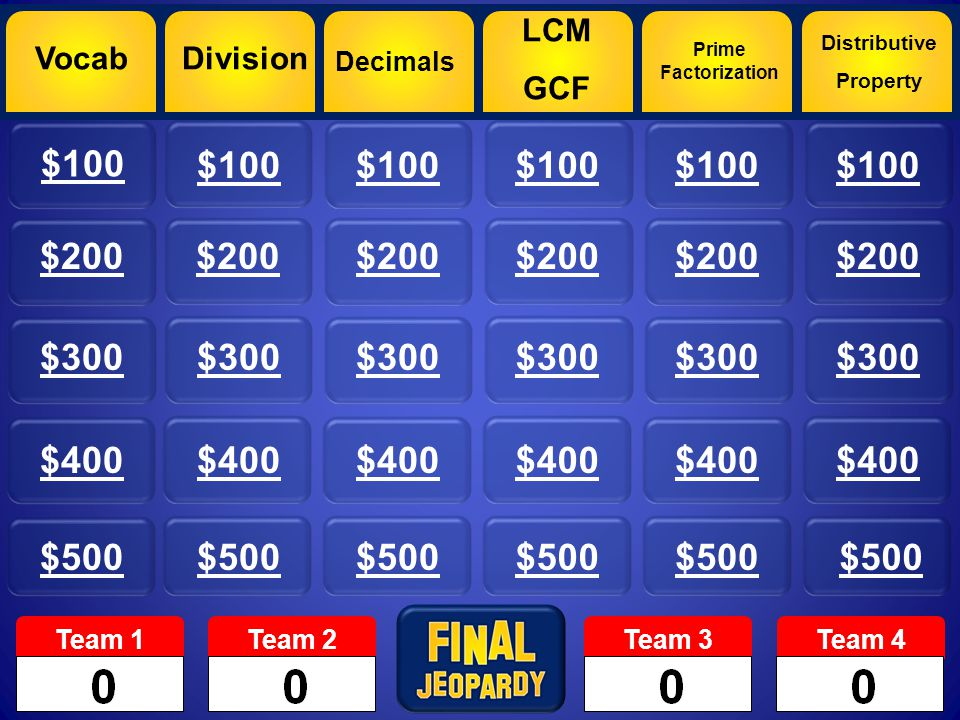 Vocab $100 $200 $300 $400 $500 Division Decimals LCM GCF Prime Factorization Distributive Property Team 1Team 2Team 3Team 4 $200
