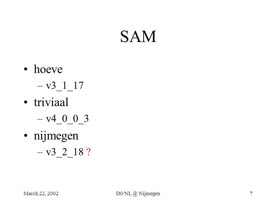 March 22, 2002D0/NL @ Nijmegen7 SAM hoeve –v3_1_17 triviaal –v4_0_0_3 nijmegen –v3_2_18