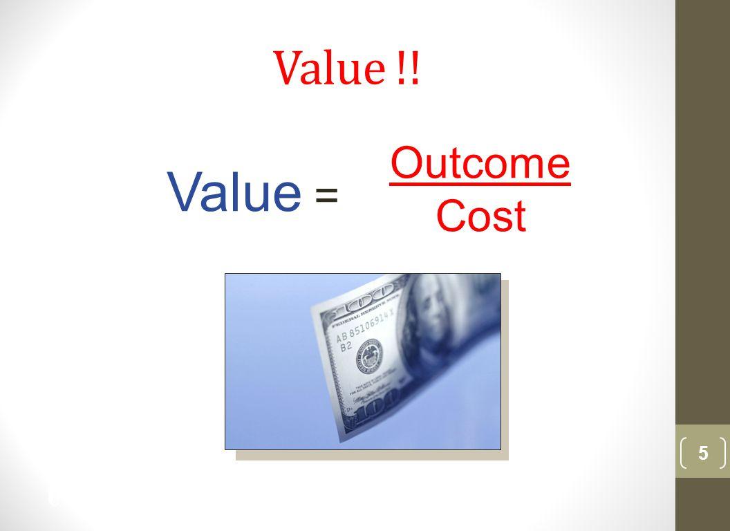 Value !! 5 Value = Outcome Cost