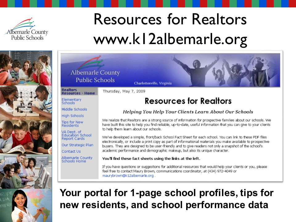 Your portal for 1-page school profiles, tips for new residents, and school performance data