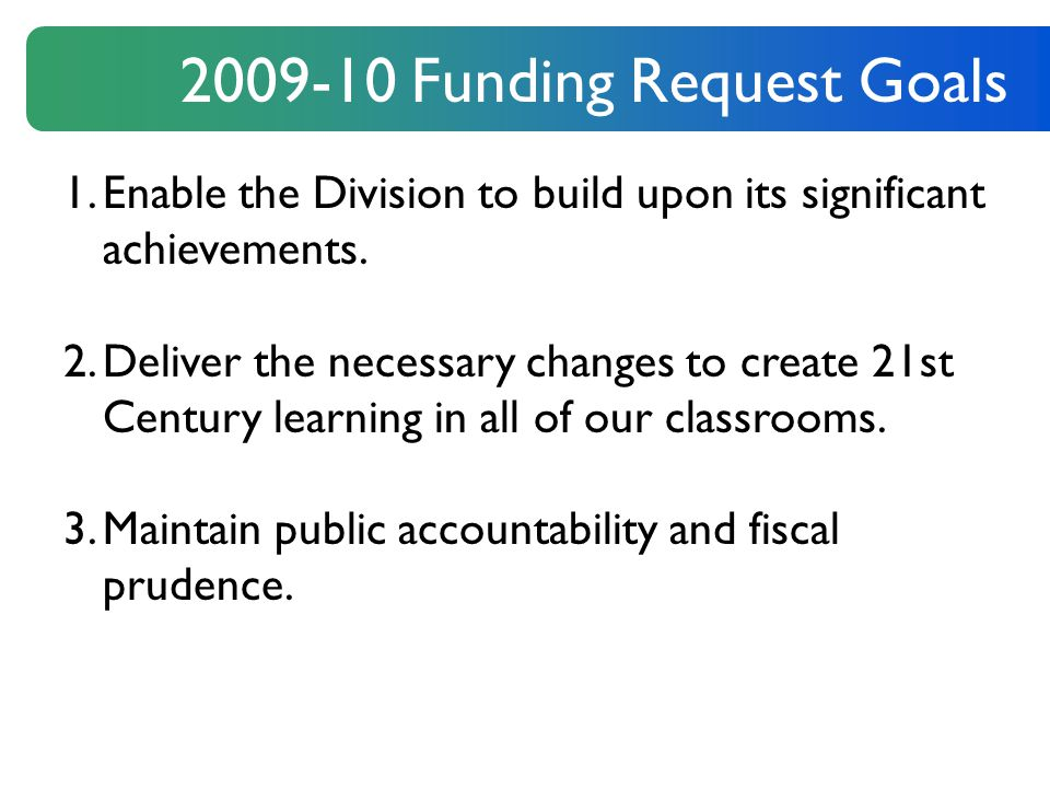 2009-10 Funding Request Goals 1.Enable the Division to build upon its significant achievements.