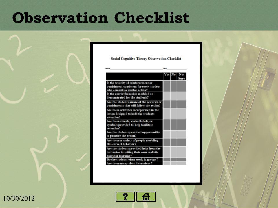 Learning Scenario 10/30/2012