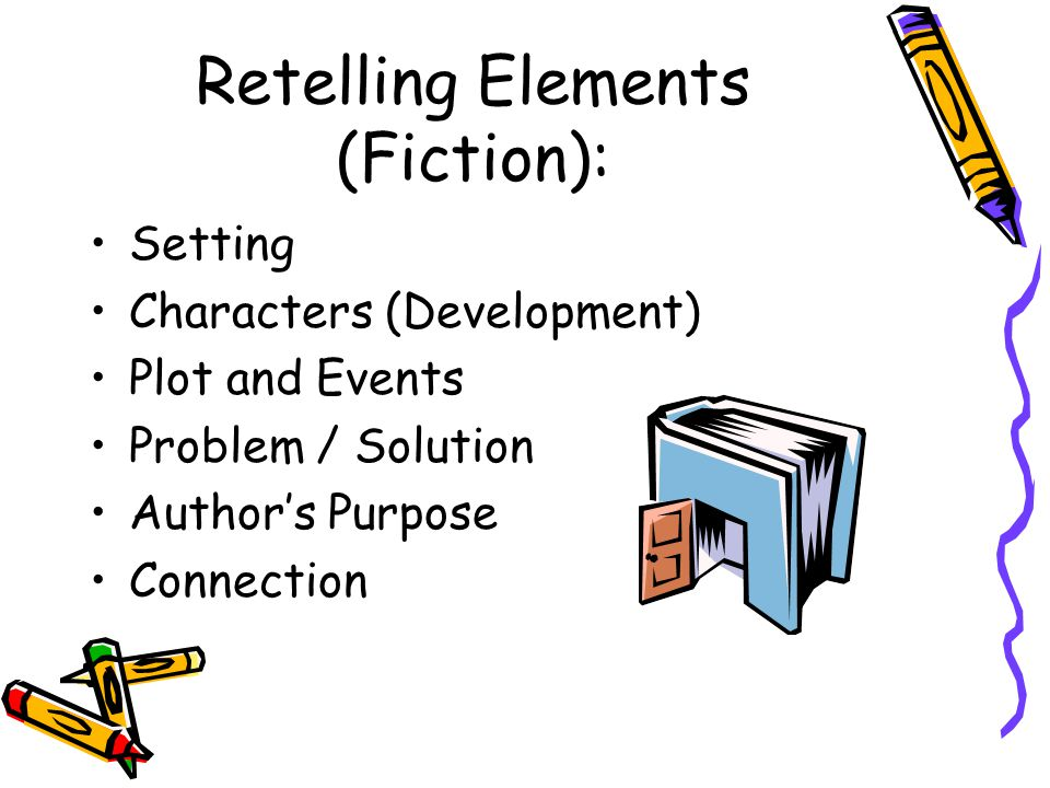 Retelling Elements (Fiction): Setting Characters (Development) Plot and Events Problem / Solution Author's Purpose Connection