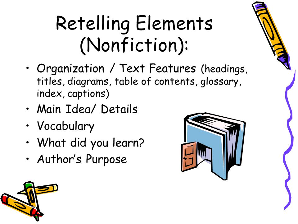 Retelling Elements (Nonfiction): Organization / Text Features (headings, titles, diagrams, table of contents, glossary, index, captions) Main Idea/ Details Vocabulary What did you learn.