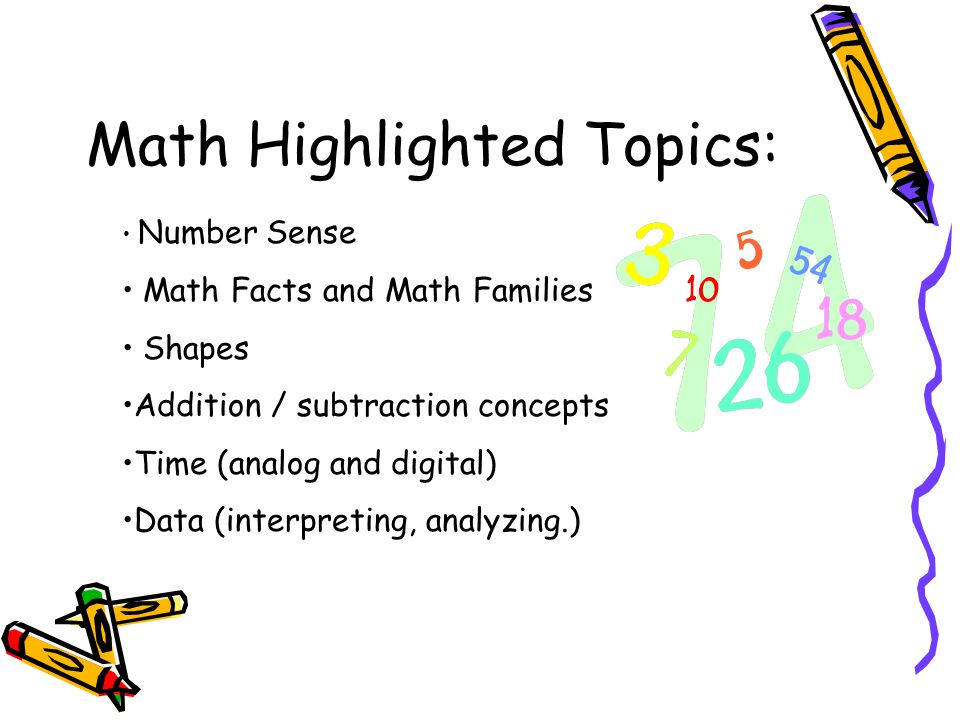 Math Highlighted Topics: Number Sense Math Facts and Math Families Shapes Addition / subtraction concepts Time (analog and digital) Data (interpreting, analyzing.)