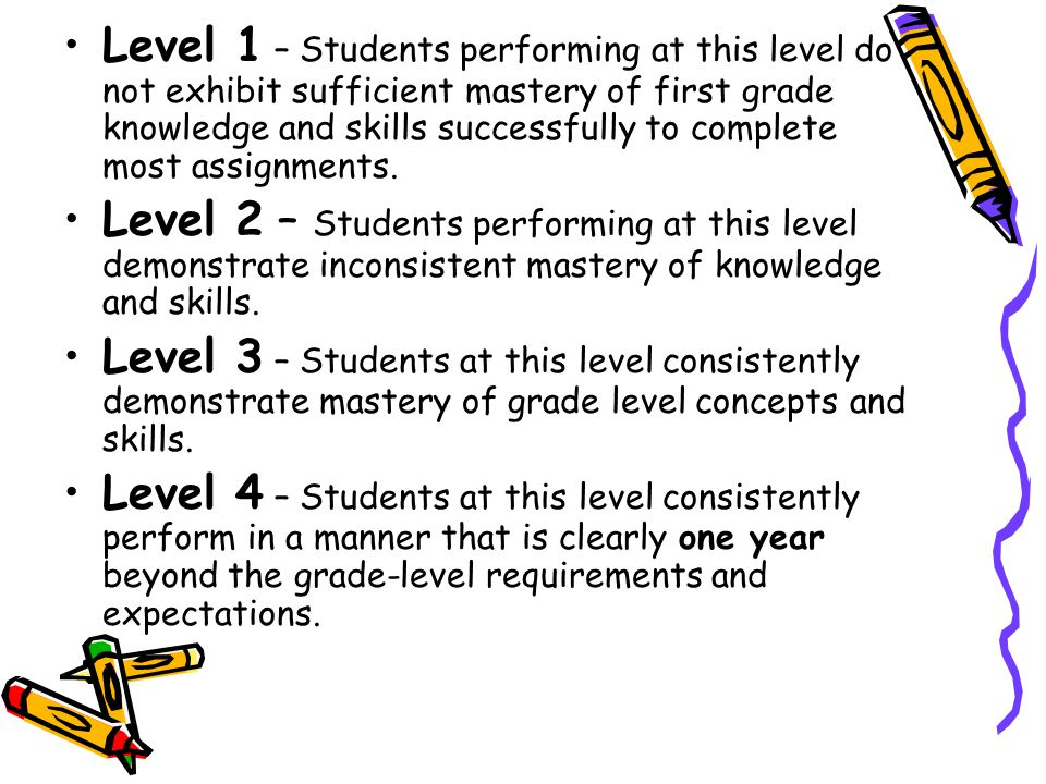 Level 1 – Students performing at this level do not exhibit sufficient mastery of first grade knowledge and skills successfully to complete most assignments.