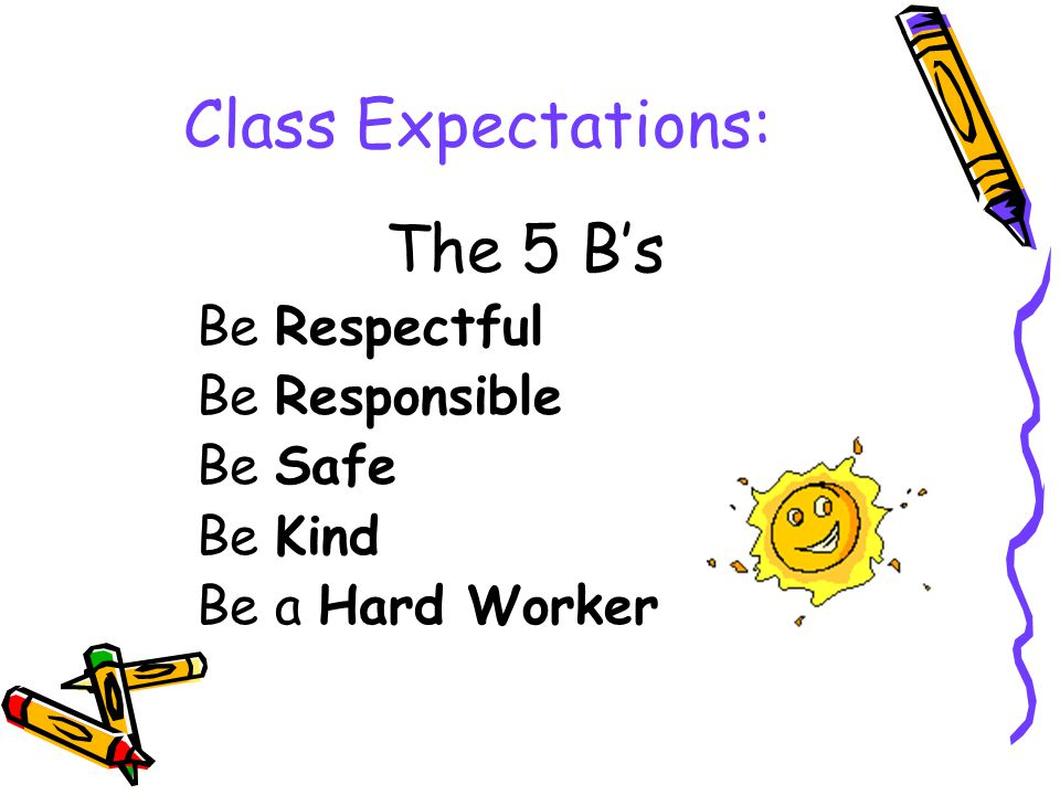 Class Expectations: The 5 B's Be Respectful Be Responsible Be Safe Be Kind Be a Hard Worker