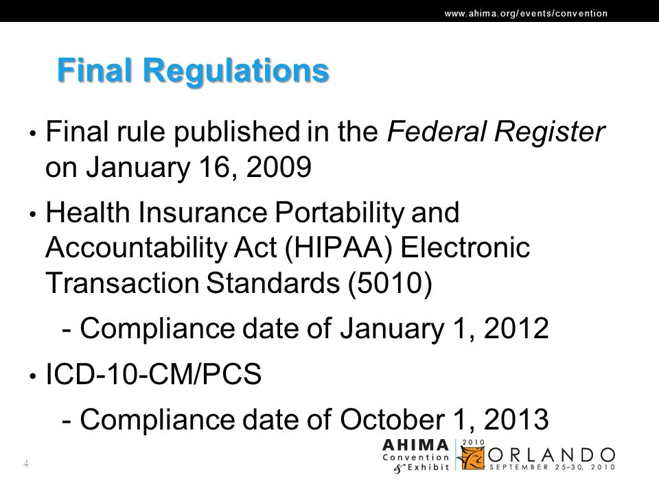 www.ahima.org/events/convention Compliance Timeline January 1, 2010Payers and providers should begin internal testing of Version 5010 standards for electronic claims December 31, 2010Internal testing of Version 5010 must be complete to achieve Level I Version 5010 compliance January 1, 2011Payers and providers should begin external testing of Version 5010 for electronic claims CMS begins accepting Version 5010 claims Version 4010 claims continue to be accepted December 31, 2011External testing of Version 5010 must be complete to achieve Level II compliance January 1, 2012All electronic claims must use Version 5010 Version 4010 claims are no longer accepted October 1, 2013Claims for services provided on or after this date must use ICD-10-CM/PCS codes for medical diagnoses and inpatient procedures 5