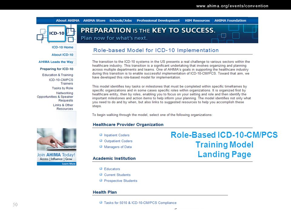 www.ahima.org/events/convention Role-Based ICD-10-CM/PCS Training Model Landing Page 50