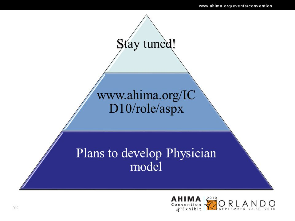 www.ahima.org/events/convention 52 Stay tuned! www.ahima.org/IC D10/role/aspx Plans to develop Physician model