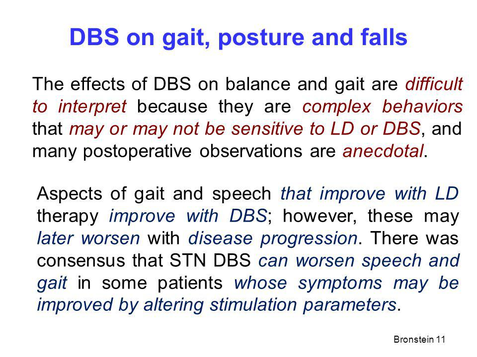 DBS on gait, posture and falls The effects of DBS on balance and gait are difficult to interpret because they are complex behaviors that may or may not be sensitive to LD or DBS, and many postoperative observations are anecdotal.