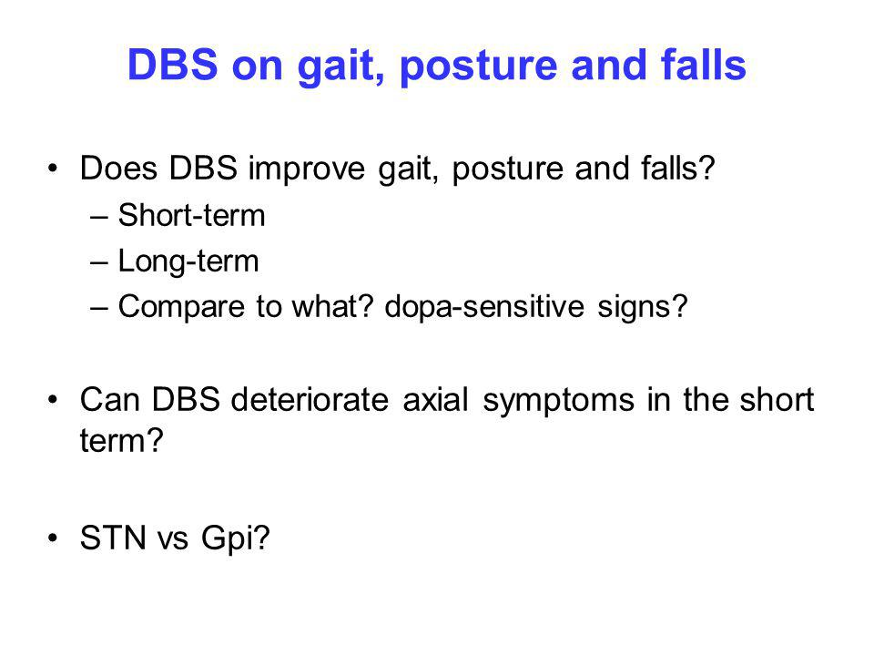 DBS on gait, posture and falls Does DBS improve gait, posture and falls.
