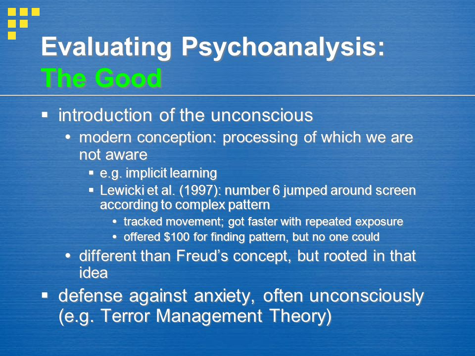 Evaluating Psychoanalysis: The Good  introduction of the unconscious  modern conception: processing of which we are not aware  e.g. implicit learni