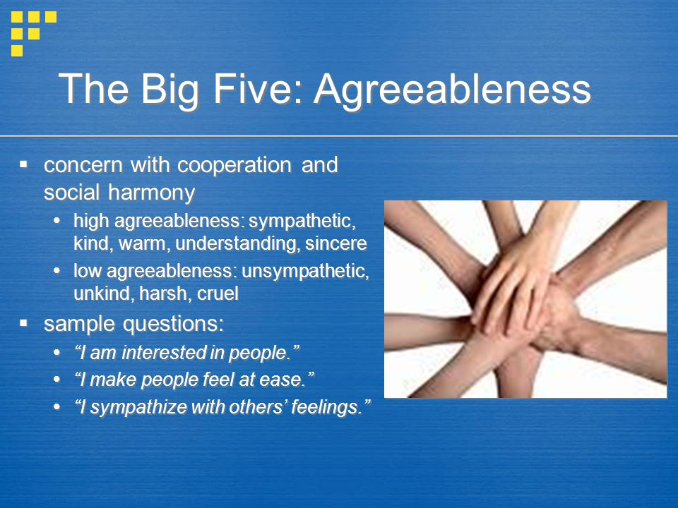 The Big Five: Agreeableness  concern with cooperation and social harmony  high agreeableness: sympathetic, kind, warm, understanding, sincere  low