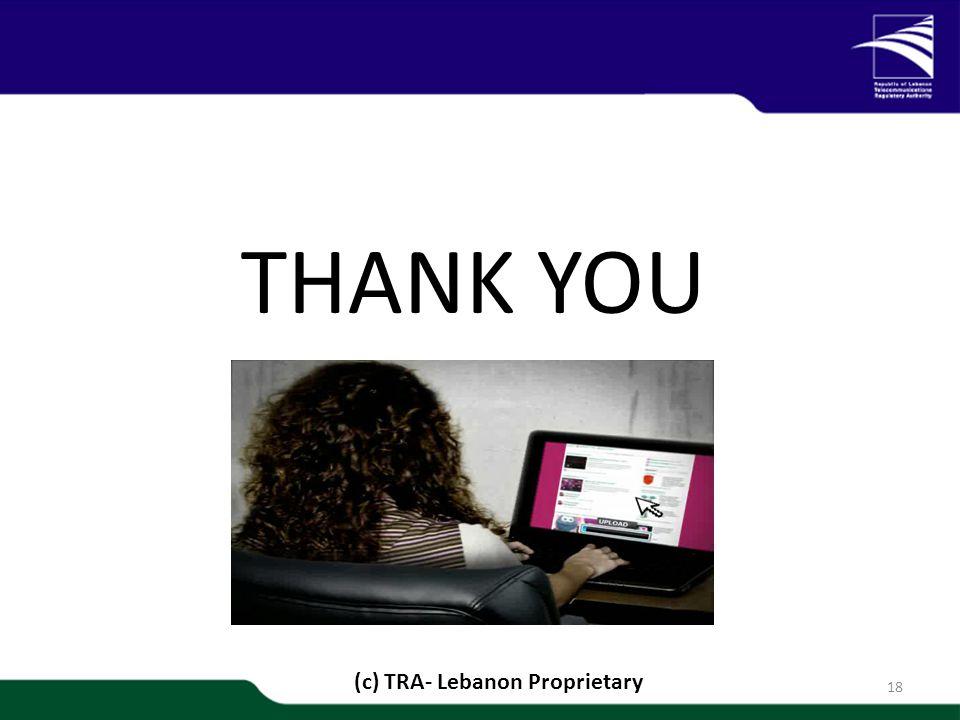 1/20 THANK YOU 18 (c) TRA- Lebanon Proprietary