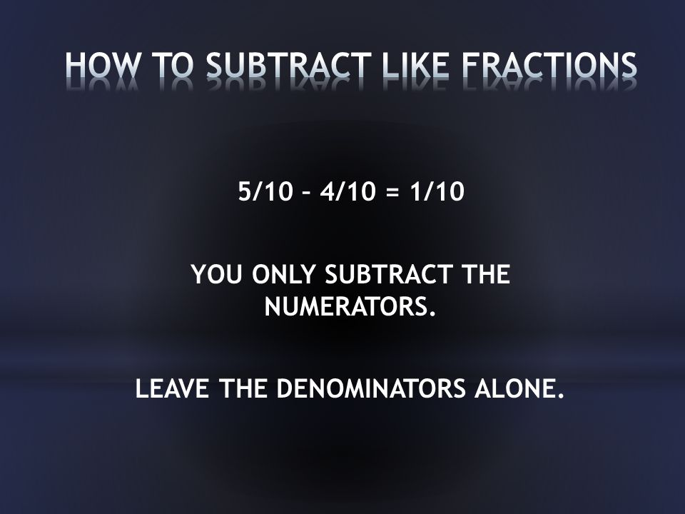 5/10 – 4/10 = 1/10 YOU ONLY SUBTRACT THE NUMERATORS. LEAVE THE DENOMINATORS ALONE.
