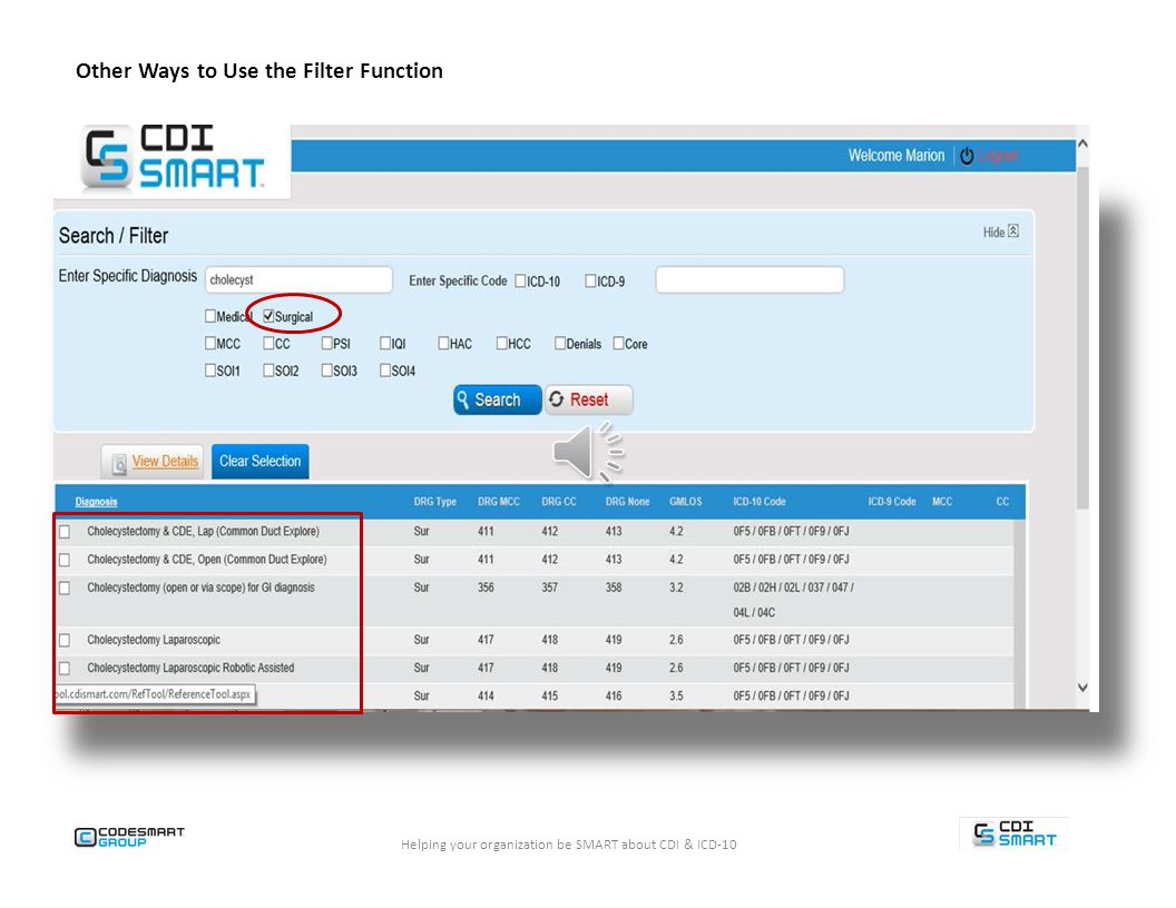 Helping your organization be SMART about CDI & ICD-10 Cholecyst Other Ways to Use the Filter Function