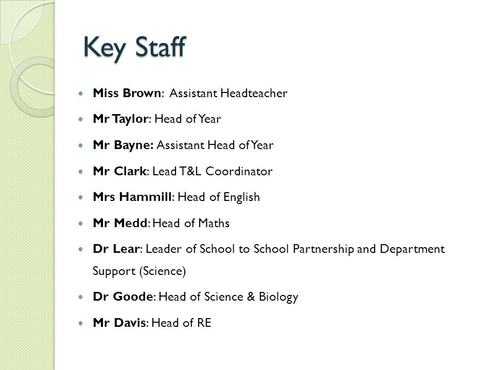 Key Staff Miss Brown: Assistant Headteacher Mr Taylor: Head of Year Mr Bayne: Assistant Head of Year Mr Clark: Lead T&L Coordinator Mrs Hammill: Head