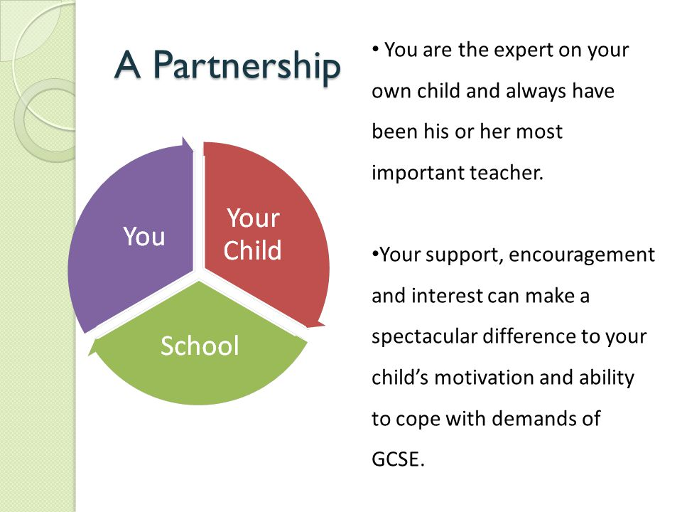 A Partnership You are the expert on your own child and always have been his or her most important teacher. Your support, encouragement and interest ca
