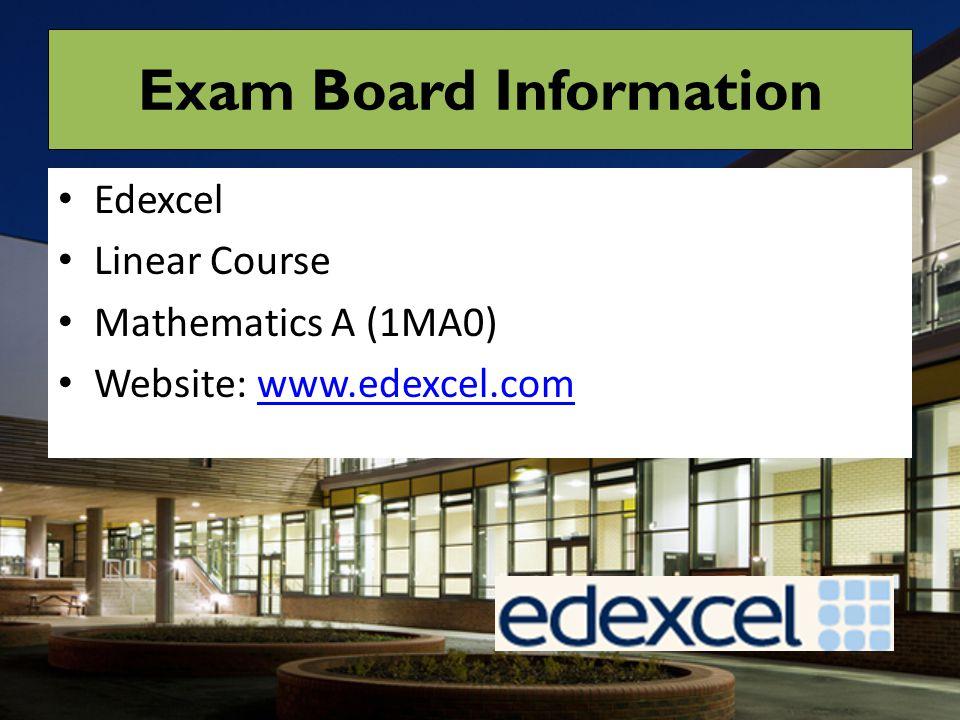 Exam Board Information Edexcel Linear Course Mathematics A (1MA0) Website: www.edexcel.comwww.edexcel.com
