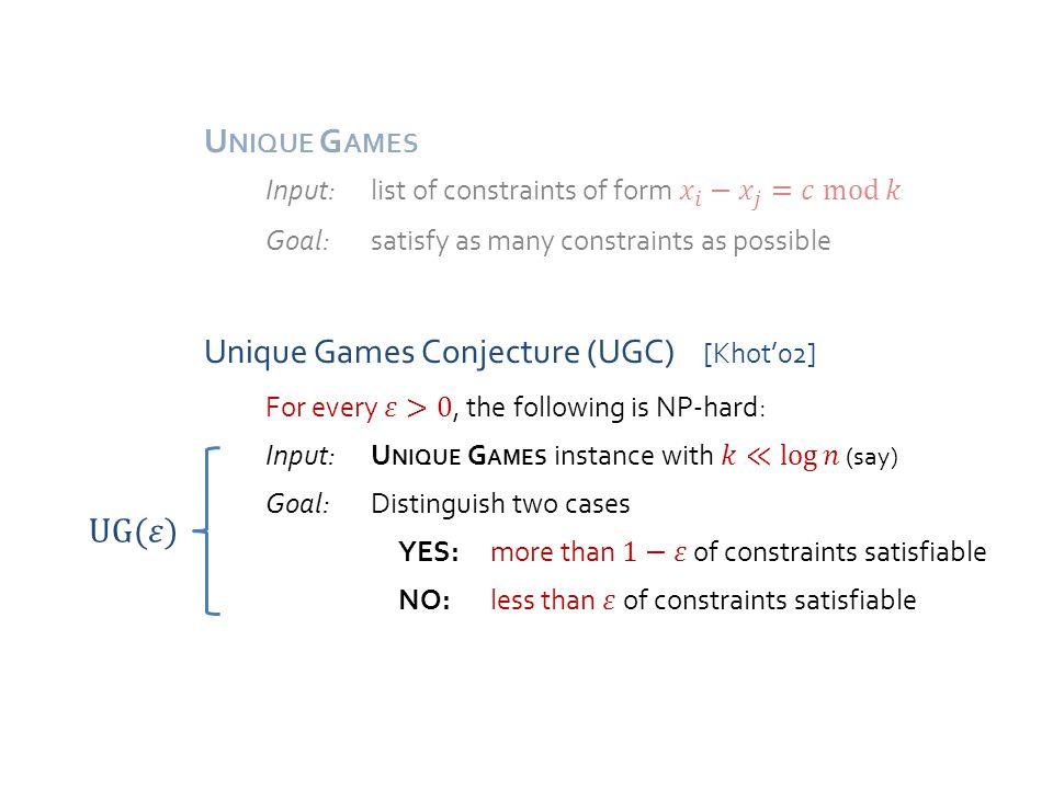 Approach [Trevisan'05, Arora-Impagliazzo-Matthews-S.'10] quasi-expander Expanding constraint graph Constraint graph with few large eigenvalues Easy graphs for U NIQUE G AMES [Arora-Khot-Kolla-S.-Tulsiani-Vishnoi'08] [Kolla-Tulsiani'07, Kolla'10, here] Subexponential Algorithm for Unique Games Graph Decomposition