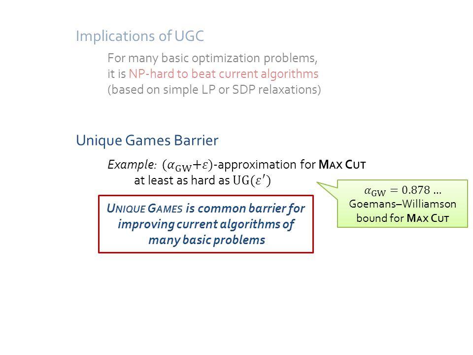 Approach [Trevisan'05, Arora-Impagliazzo-Matthews-S.'10] Expanding constraint graph Constraint graph with few large eigenvalues Easy graphs for U NIQUE G AMES [Arora-Khot-Kolla-S.-Tulsiani-Vishnoi'08] [Kolla-Tulsiani'07, Kolla'10, here] Subexponential Algorithm for Unique Games Graph Decomposition