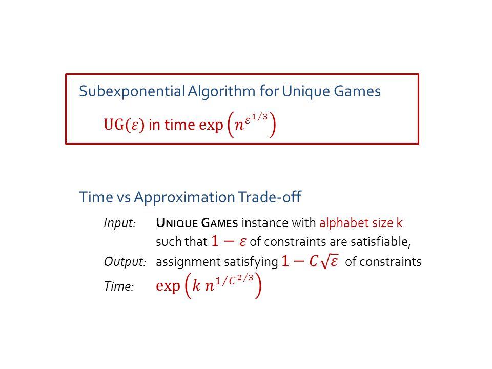 Approach [Trevisan'05, Arora-Impagliazzo-Matthews-S.'10] Expanding constraint graph Constraint graph with few large eigenvalues Easy graphs for U NIQUE G AMES [Arora-Khot-Kolla-S.-Tulsiani-Vishnoi'08] [Kolla-Tulsiani'07, Kolla'10, here] Subexponential Algorithm for Unique Games Graph Decomposition NO .