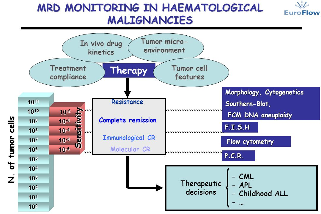 Therapy Treatment compliance In vivo drug kinetics Tumor micro- environment Tumor cell features MRD MONITORING IN HAEMATOLOGICAL MALIGNANCIES 10 0 10