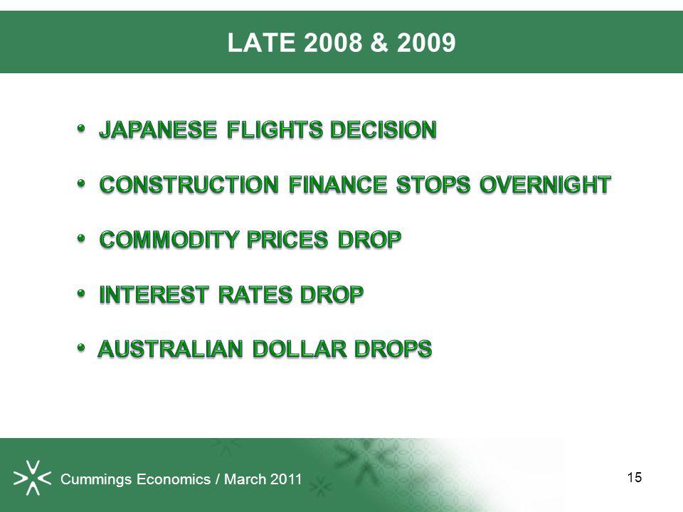 15 LATE 2008 & 2009 Cummings Economics / March 2011
