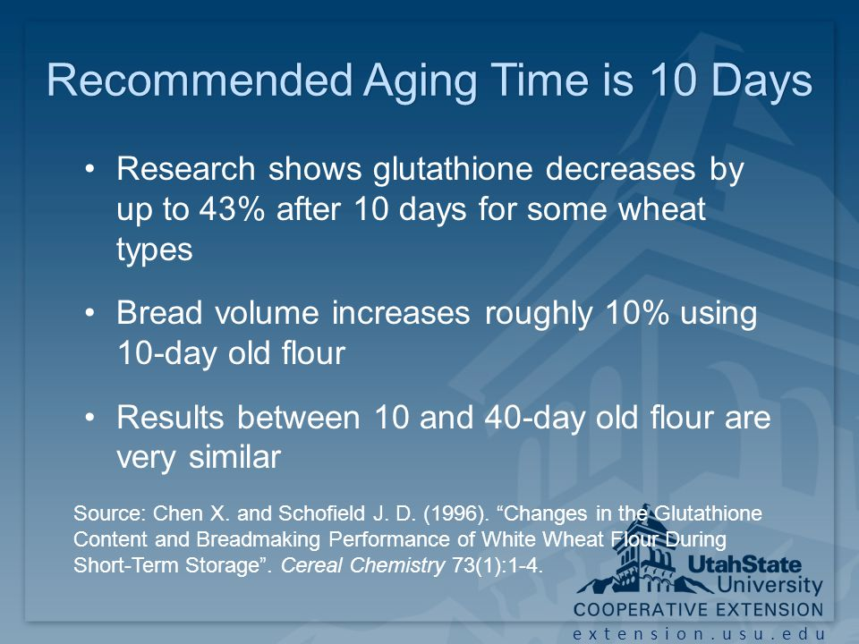 extension.usu.edu Recommended Aging Time is 10 DaysRecommended Aging Time is 10 Days Research shows glutathione decreases by up to 43% after 10 days for some wheat types Bread volume increases roughly 10% using 10-day old flour Results between 10 and 40-day old flour are very similar Source: Chen X.