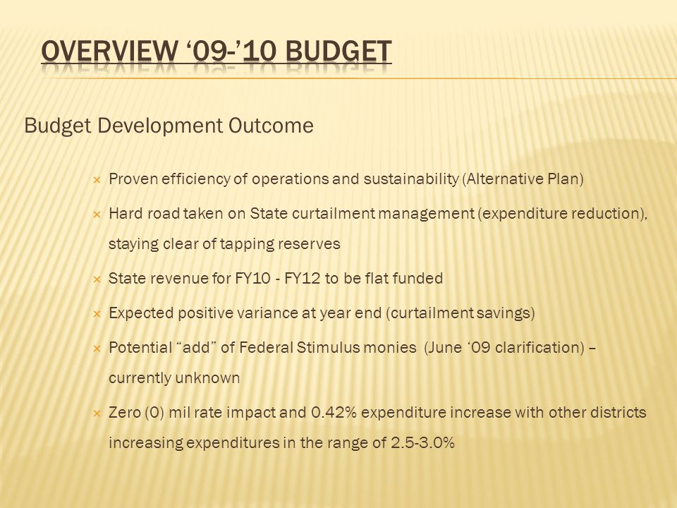 Budget Development Outcome  Proven efficiency of operations and sustainability (Alternative Plan)  Hard road taken on State curtailment management (