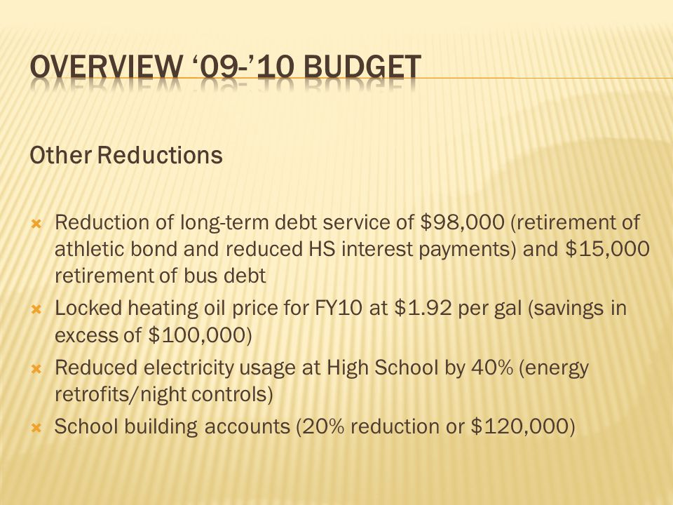 Other Reductions  Reduction of long-term debt service of $98,000 (retirement of athletic bond and reduced HS interest payments) and $15,000 retiremen