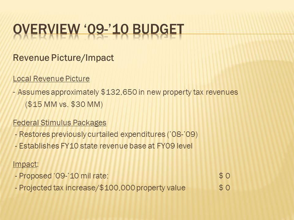 Revenue Picture/Impact Local Revenue Picture - Assumes approximately $132,650 in new property tax revenues ($15 MM vs.