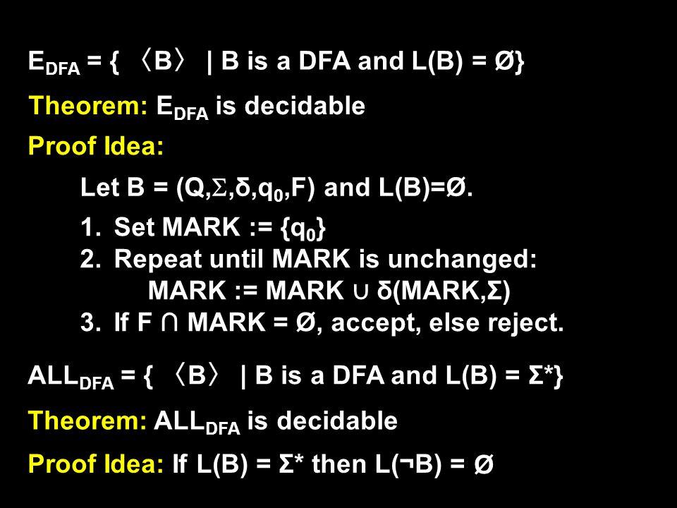 E DFA = { 〈 B 〉 | B is a DFA and L(B) = Ø} Theorem: E DFA is decidable Proof Idea: Let B = (Q, ,δ,q 0,F) and L(B)=Ø.