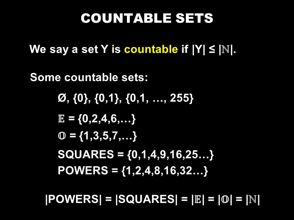 COUNTABLE SETS We say a set Y is countable if |Y| ≤ | ℕ |.