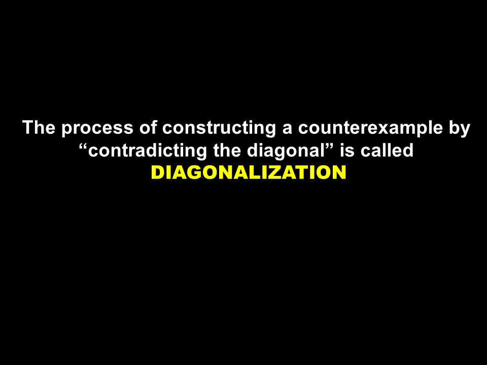 The process of constructing a counterexample by contradicting the diagonal is called DIAGONALIZATION