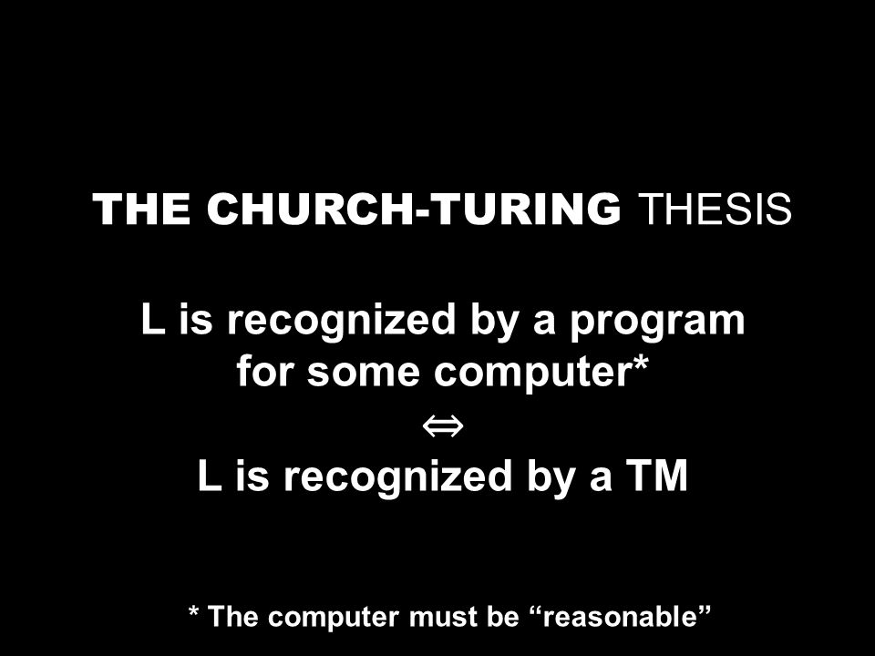 The Church-Turing Thesis is consistent with all known reasonable computers.