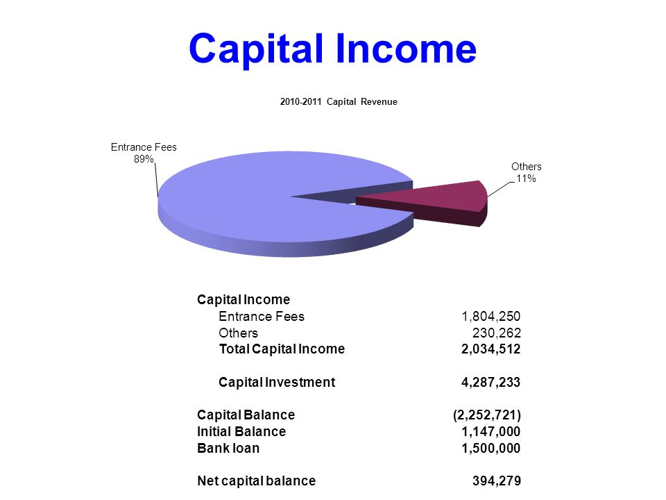 Capital Income Entrance Fees1,804,250 Others230,262 Total Capital Income2,034,512 Capital Investment4,287,233 Capital Balance(2,252,721) Initial Balance1,147,000 Bank loan1,500,000 Net capital balance394,279