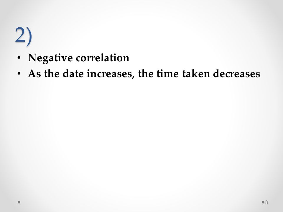 2) Negative correlation As the date increases, the time taken decreases 8