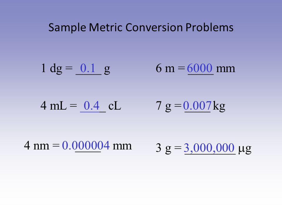 Sample Metric Conversion Problems 1 dg = ____ g0.1 4 mL = ____ cL 4 nm = ____ mm 6 m = ____ mm 7 g = ____ kg 3 g = ________  g 6000 0.40.007 0.000004