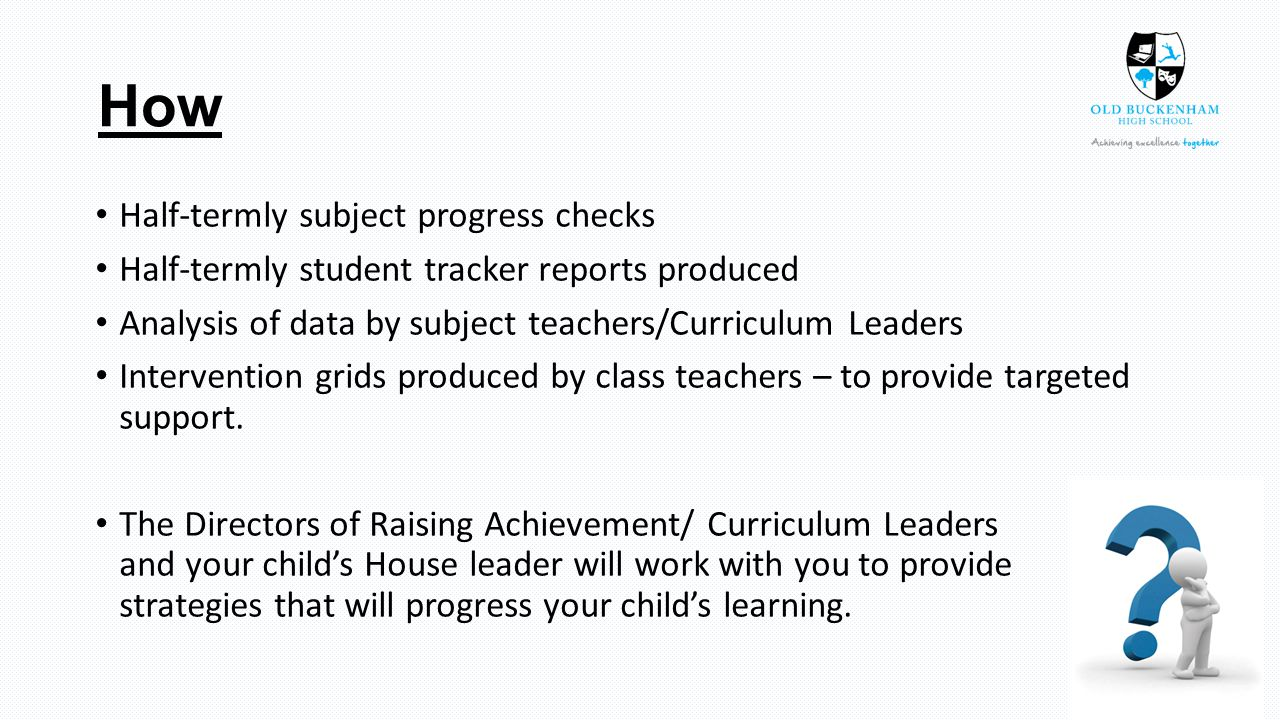 How Half-termly subject progress checks Half-termly student tracker reports produced Analysis of data by subject teachers/Curriculum Leaders Intervention grids produced by class teachers – to provide targeted support.