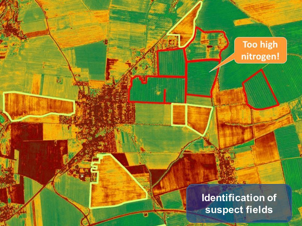 Identification of suspect fields Too high nitrogen!